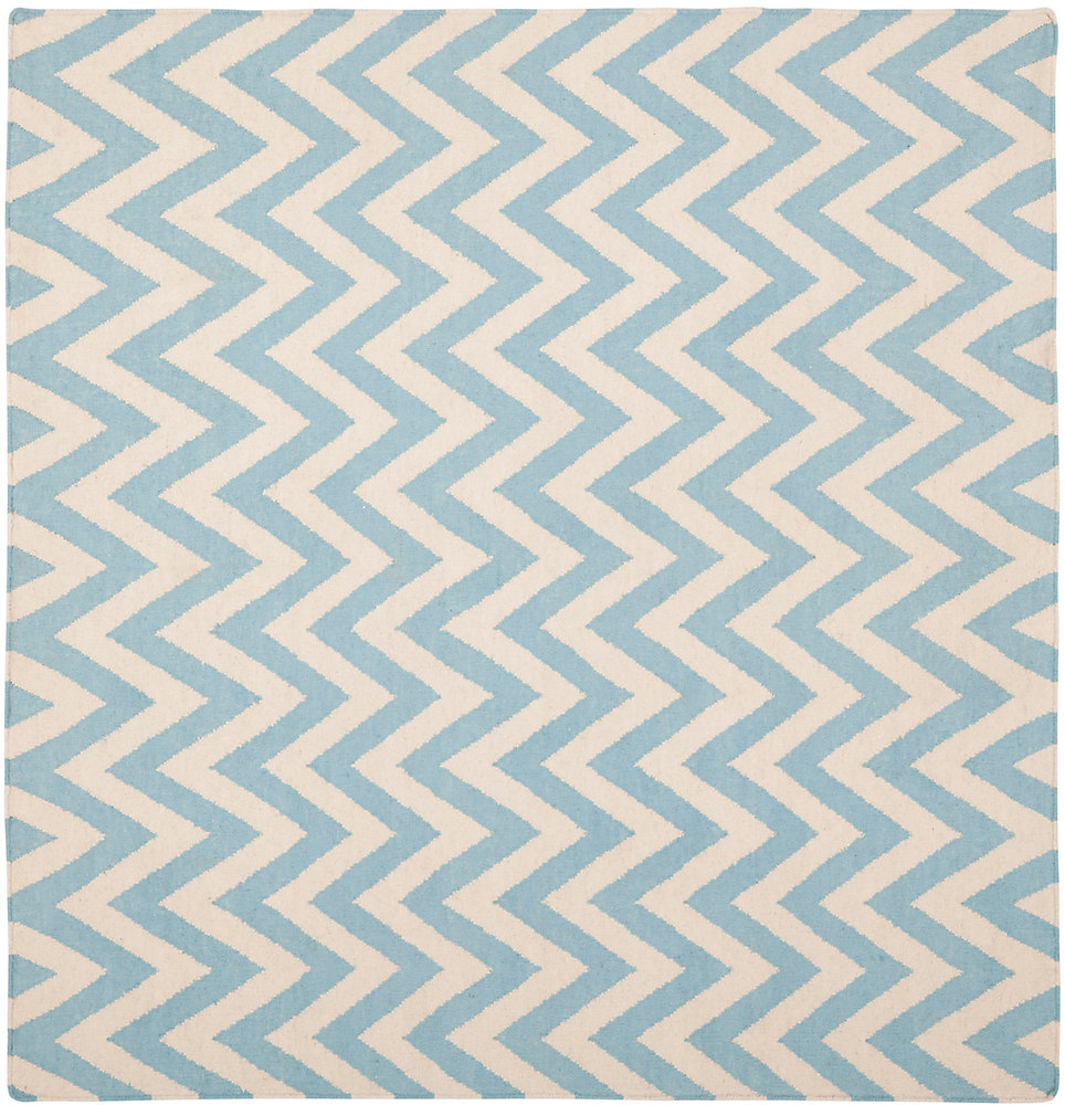 Dhurries Ash Blue / Ivory 6 ft. x 6 ft. Indoor Square Area Rug