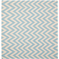 Safavieh Dhurries Ash Blue / Ivory 6 ft. x 6 ft. Indoor Square Area Rug