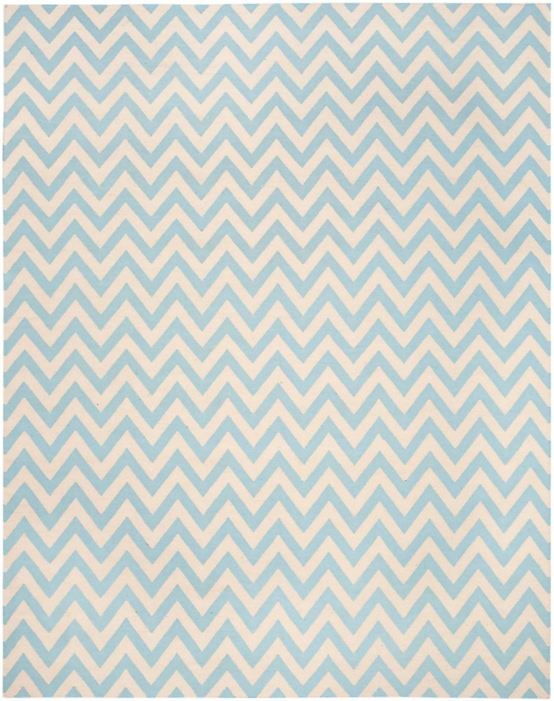 Dhurries Ash Blue / Ivory 8 ft. x 10 ft. Indoor Area Rug