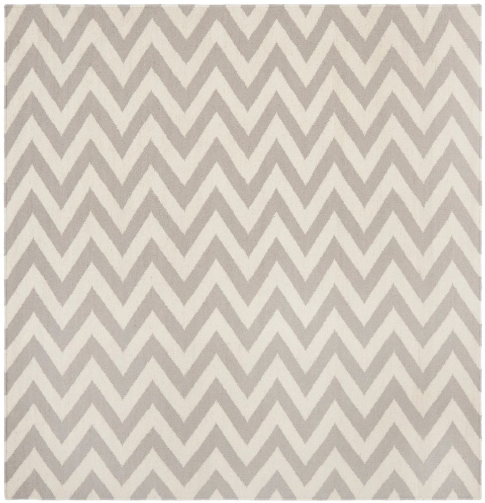 Safavieh Dhurries Ash Grey / Ivory 6 ft. x 6 ft. Indoor Square Area Rug