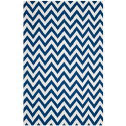 Safavieh Tapis d'intérieur, 4 pi x 6 pi, Dhurries Ash, bleu foncé / ivoire