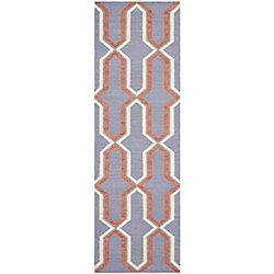 Safavieh Tapis de passage d'intérieur, 2 pi 6 po x 8 pi, Dhurries Ray, violet / multi