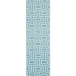 Safavieh Dhurries Jeffrey Light Blue / Ivory 2 ft. 6 inch x 8 ft. Indoor Runner