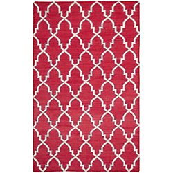 Safavieh Dhurries Grace Red / Ivory 5 ft. x 8 ft. Indoor Area Rug
