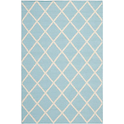 Safavieh Dhurries Lizzie Light Blue / Ivory 5 ft. x 8 ft. Indoor Area Rug