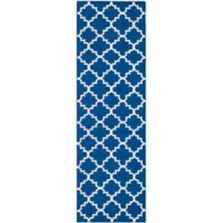 Safavieh Tapis de passage d'intérieur, 2 pi 6 po x 10 pi, Dhurries Lucy, bleu foncé