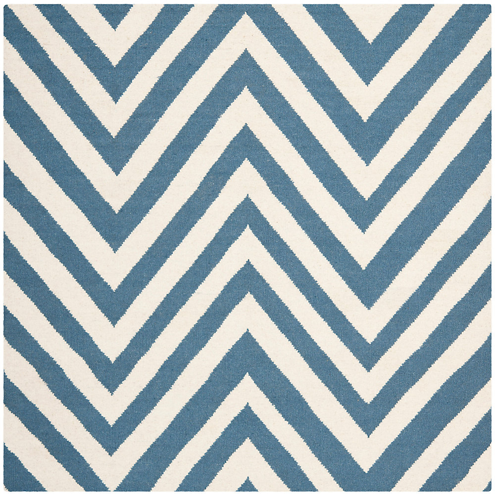 Dhurries Mariah Blue / Ivory 8 ft. x 8 ft. Indoor Square Area Rug