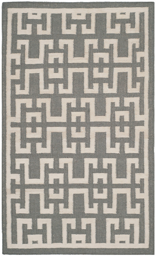 Dhurries Shawn Soft Grey / Ivory 3 ft. x 5 ft. Indoor Area Rug