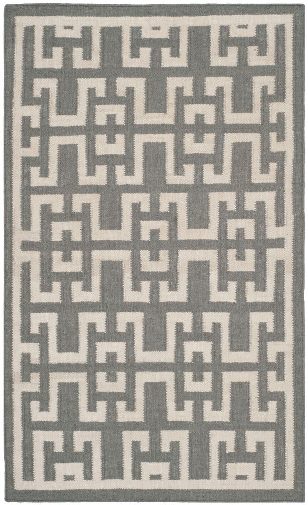 Safavieh Dhurries Shawn Soft Grey / Ivory 3 ft. x 5 ft. Indoor Area Rug