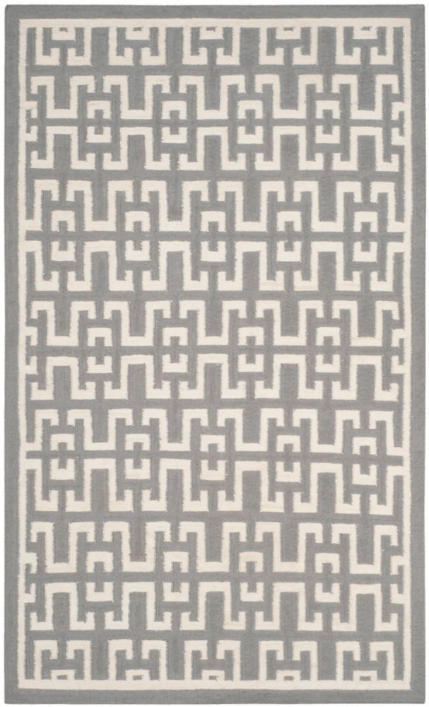 Safavieh Dhurries Shawn Soft Grey / Ivory 6 ft. x 9 ft. Indoor Area Rug