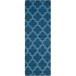 Safavieh Dhurries Jean Ink / Blue 2 ft. 6 inch x 7 ft. Indoor Runner