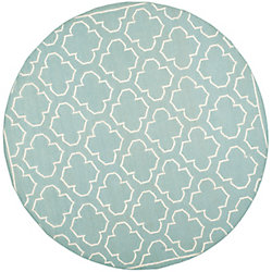 Safavieh Dhurries Spencer Blue / Ivory 7 ft. x 7 ft. Indoor Round Area Rug