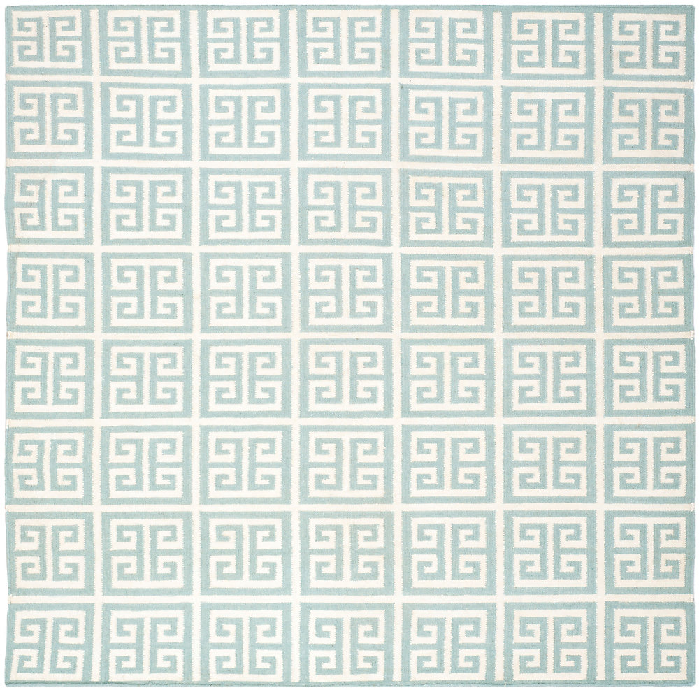 Dhurries Damian Blue / Ivory 7 ft. x 7 ft. Indoor Square Area Rug