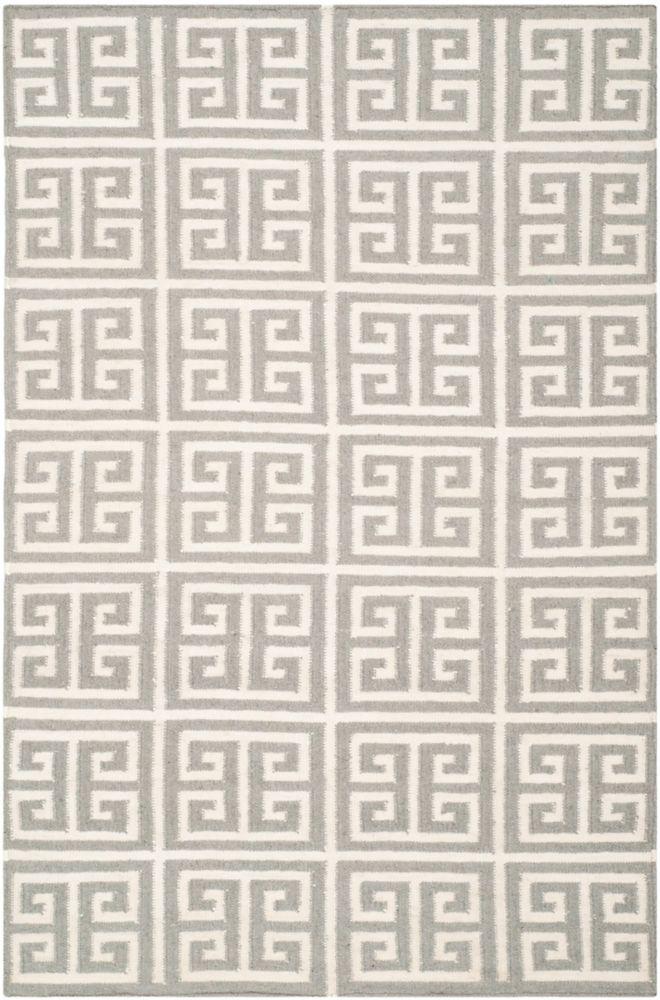 Safavieh Dhurries Damian Grey / Ivory 5 ft. x 8 ft. Indoor Area Rug