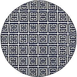 Safavieh Dhurries Damian Navy / Ivory 7 ft. x 7 ft. Indoor Round Area Rug