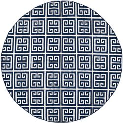 Safavieh Dhurries Damian Navy / Ivory 7 ft. x 7 ft. Indoor Round Area Rug