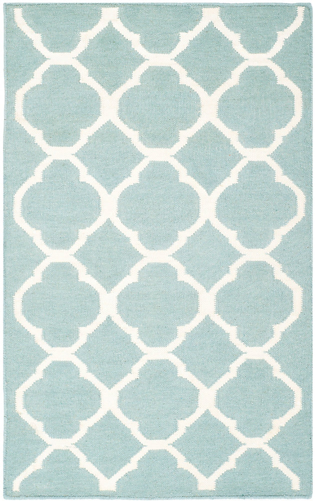 Dhurries Andy Blue / Ivory 2 ft. 6 inch x 4 ft. Indoor Area Rug