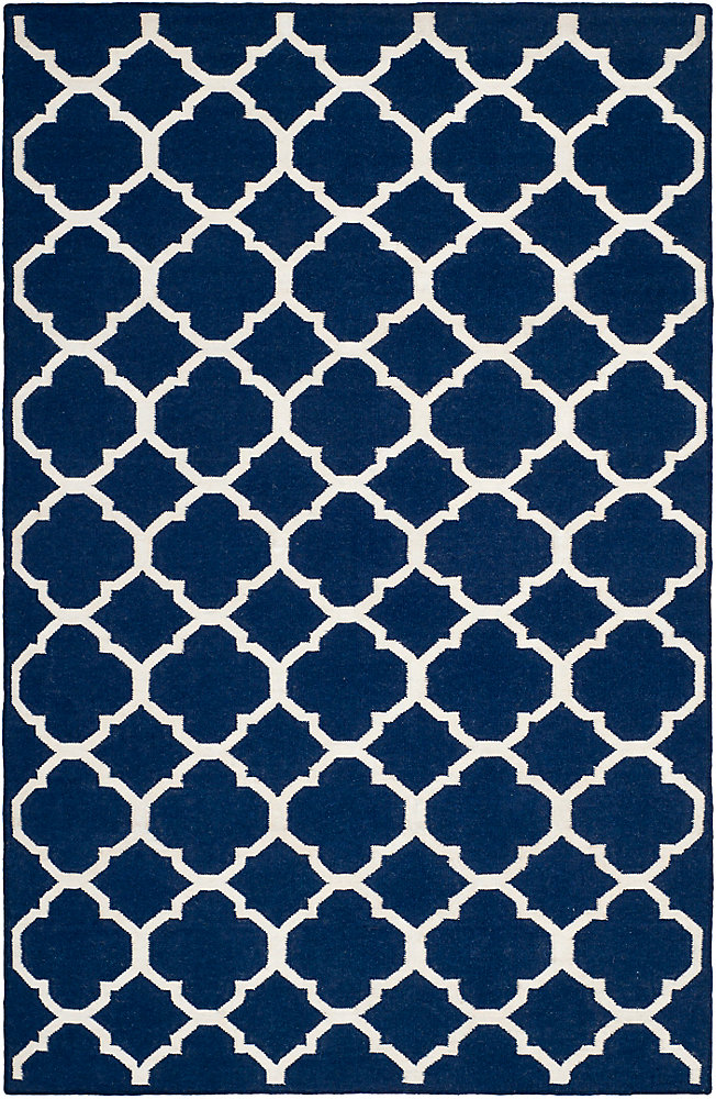 Dhurries Andy Navy / Ivory 6 ft. x 9 ft. Indoor Area Rug