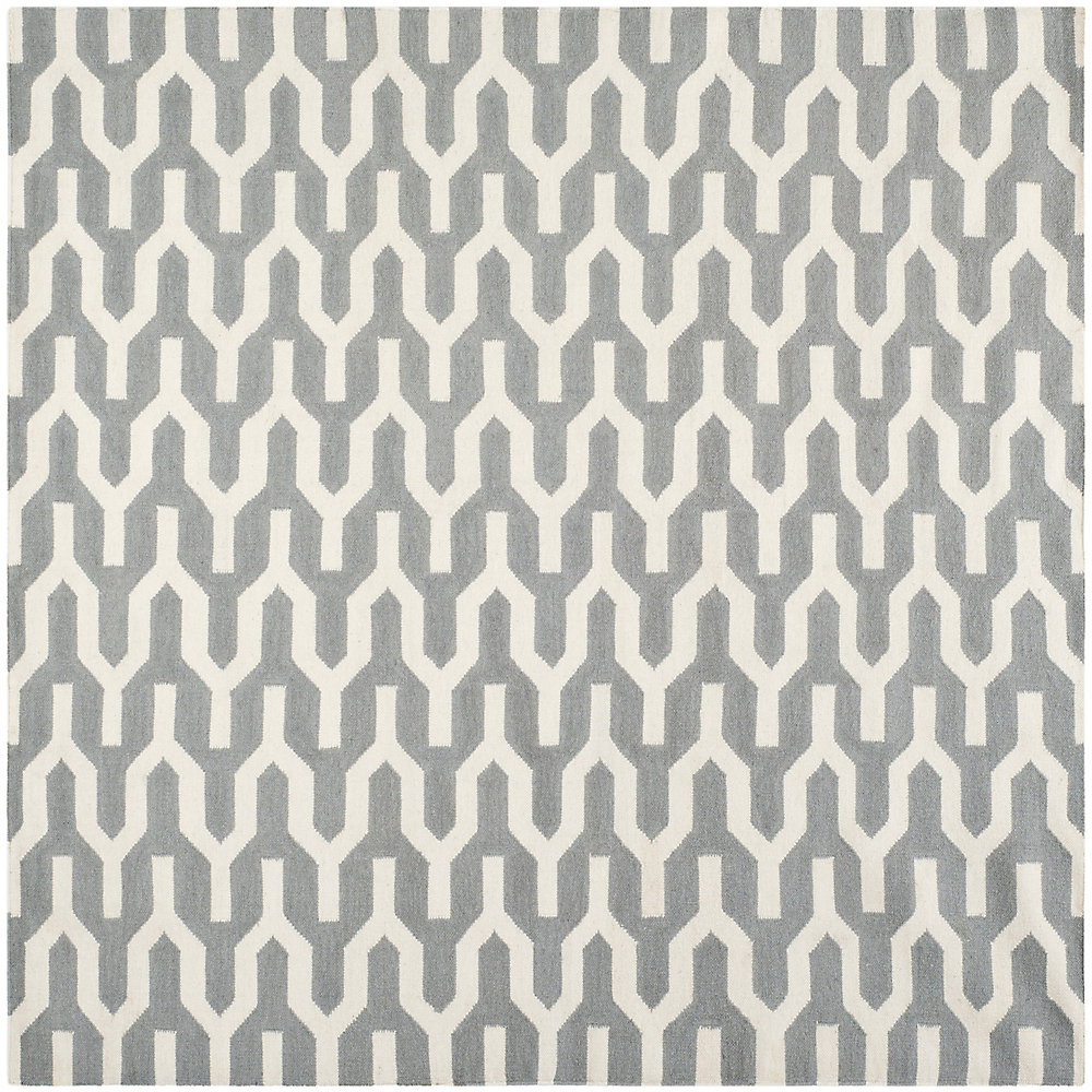 Dhurries Ajax Silver / Ivory 7 ft. x 7 ft. Indoor Square Area Rug