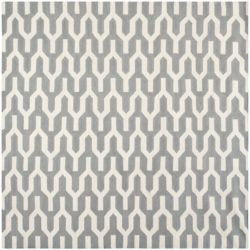 Safavieh Dhurries Ajax Silver / Ivory 7 ft. x 7 ft. Indoor Square Area Rug