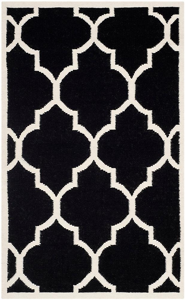 Tapis d'intérieur, 3 pi x 5 pi, Dhurries Fiona, noir / ivoire