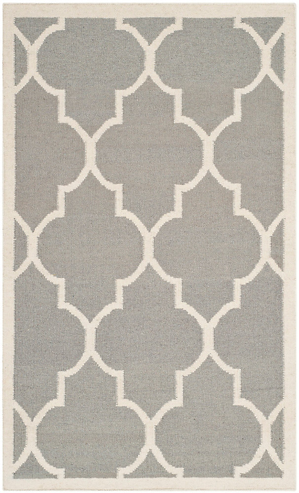 Dhurries Fiona Grey / Ivory 3 ft. x 5 ft. Indoor Area Rug