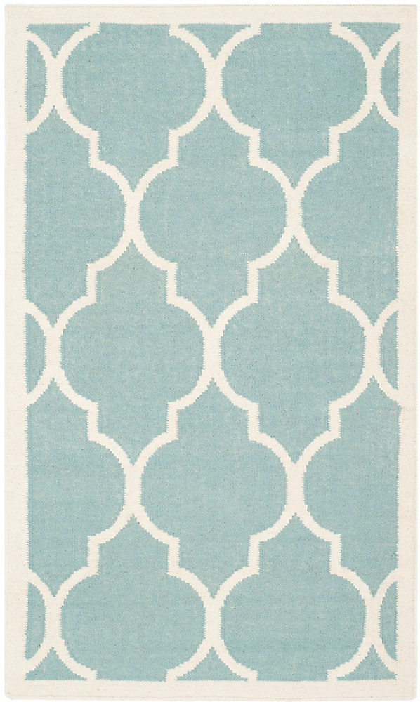 Dhurries Fiona Light Blue / Ivory 3 ft. x 5 ft. Indoor Area Rug