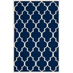 Safavieh Dhurries Fiona Navy / Ivory 6 ft. x 9 ft. Indoor Area Rug