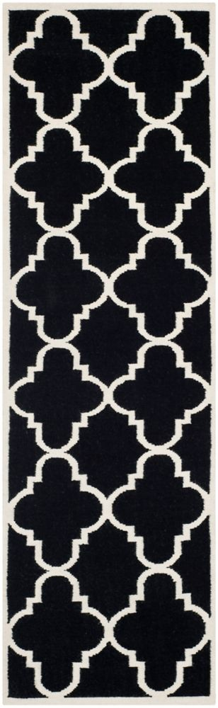 Safavieh Dhurries Olivia Black / Ivory 2 ft. 6 inch x 8 ft. Indoor Runner
