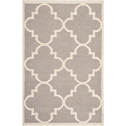 Safavieh Dhurries Olivia Dark Grey / Ivory 5 ft. x 8 ft. Indoor Area Rug