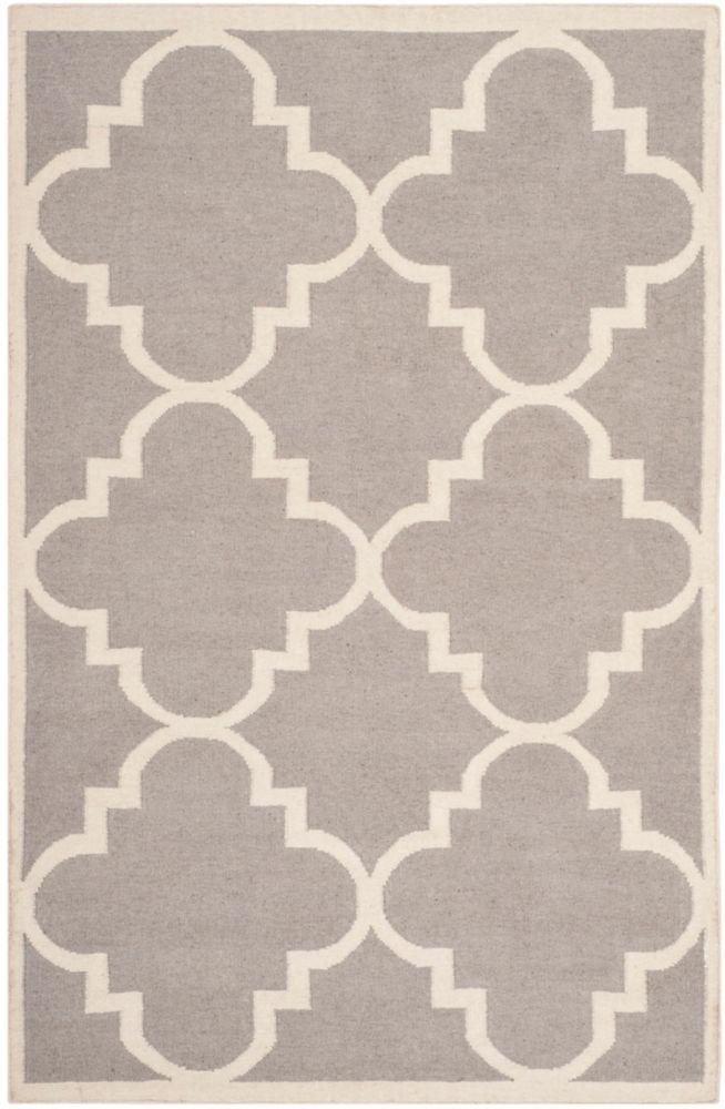 Safavieh Dhurries Olivia Dark Grey / Ivory 5 ft. x 8 ft. Indoor Area Rug