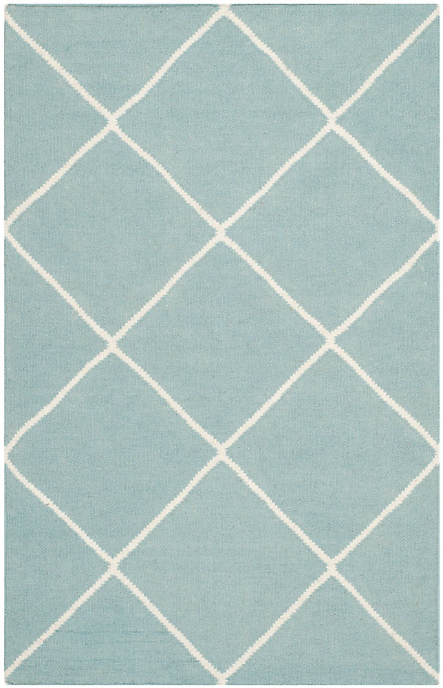 Dhurries Garrett Light Blue / Ivory 2 ft. 6 inch x 4 ft. Indoor Area Rug
