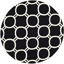 Safavieh Dhurries Terrence Black / Ivory 6 ft. x 6 ft. Indoor Round Area Rug