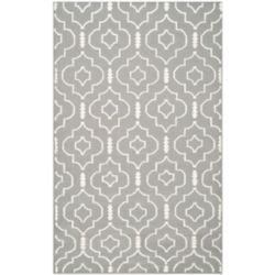 Safavieh Dhurries Issac Grey / Ivory 6 ft. x 9 ft. Indoor Area Rug
