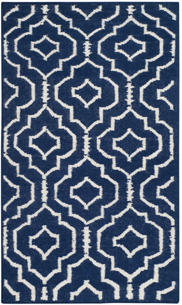 Safavieh Dhurries Issac Navy / Ivory 2 ft. 6 inch x 4 ft. Indoor Area Rug