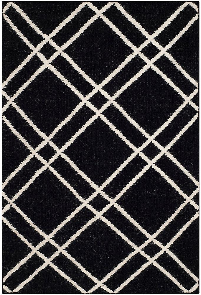 Tapis d'intérieur, 2 pi 6 po x 4 pi, Dhurries Frances, noir / ivoire
