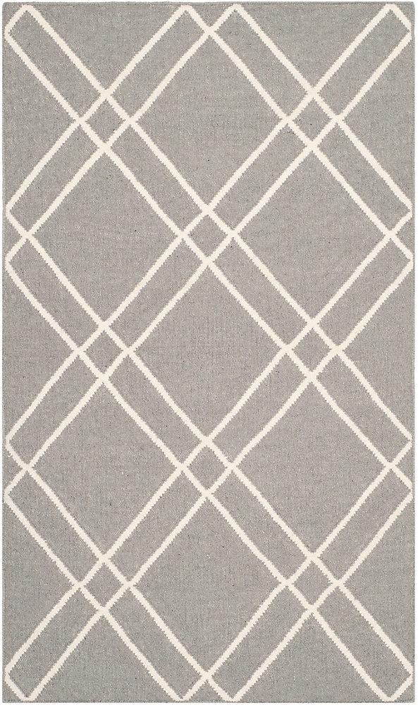 Dhurries Frances Grey / Ivory 3 ft. x 5 ft. Indoor Area Rug