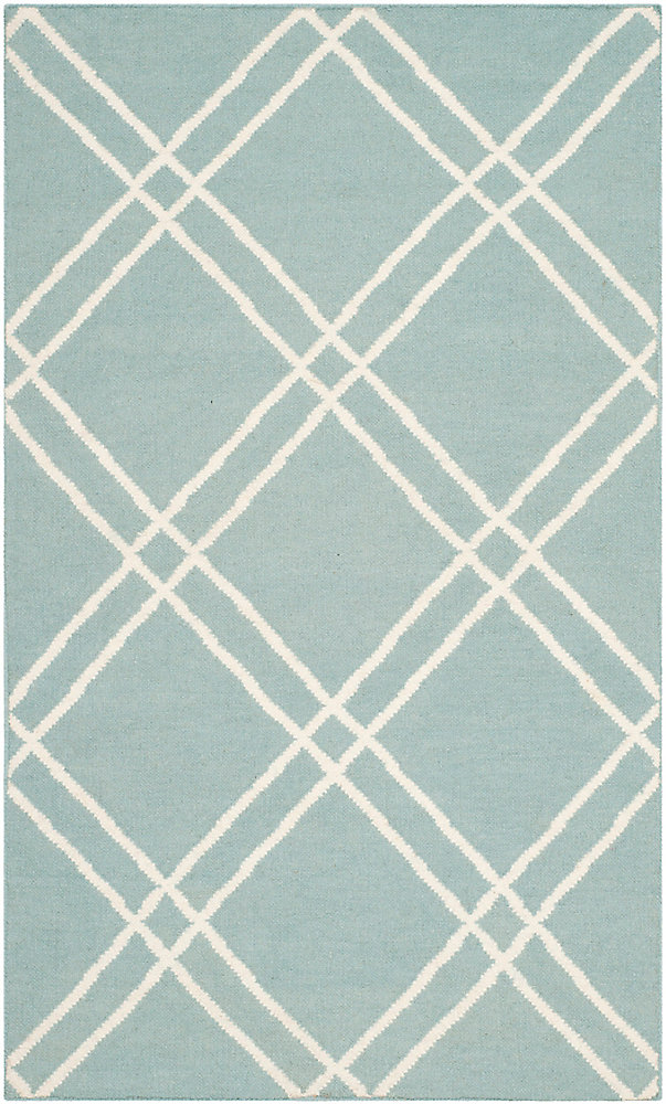 Dhurries Frances Light Blue / Ivory 3 ft. x 5 ft. Indoor Area Rug