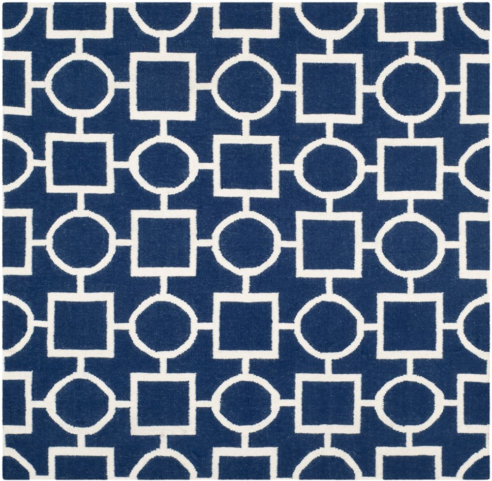 Safavieh Dhurries Trina Navy / Ivory 6 ft. x 6 ft. Indoor Square Area Rug