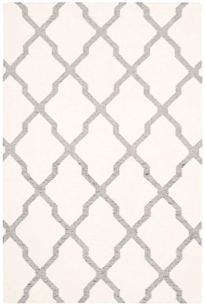 Dhurries Jayce Ivory / Grey 4 ft. x 6 ft. Indoor Area Rug