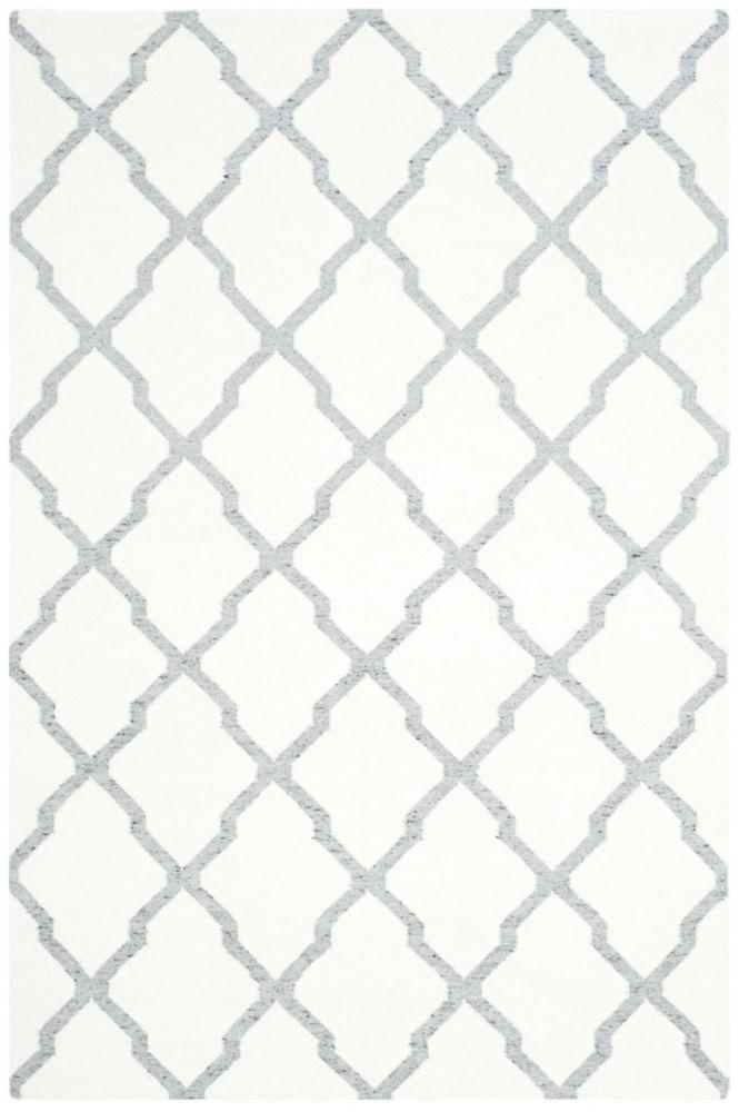 Dhurries Jayce Ivory / Grey 5 ft. x 8 ft. Indoor Area Rug