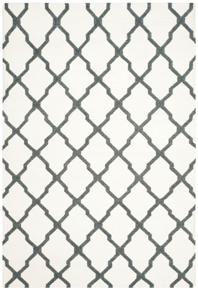 Dhurries Jayce Ivory / Charcoal 6 ft. x 9 ft. Indoor Area Rug