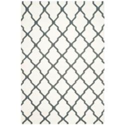 Safavieh Tapis d'intérieur, 6 pi x 9 pi, Dhurries Jayce, ivoire / gris charbon