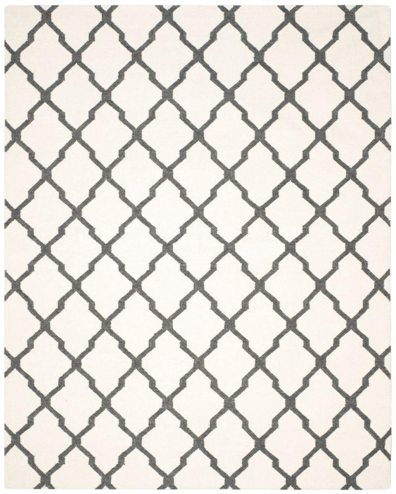 Dhurries Jayce Ivory / Charcoal 8 ft. x 10 ft. Indoor Area Rug