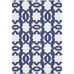 Safavieh Tapis d'intérieur, 4 pi x 6 pi, Dhurries Zola, ivoire / violet
