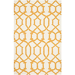 Safavieh Dhurries Dalton Ivory / Yellow 4 ft. x 6 ft. Indoor Area Rug
