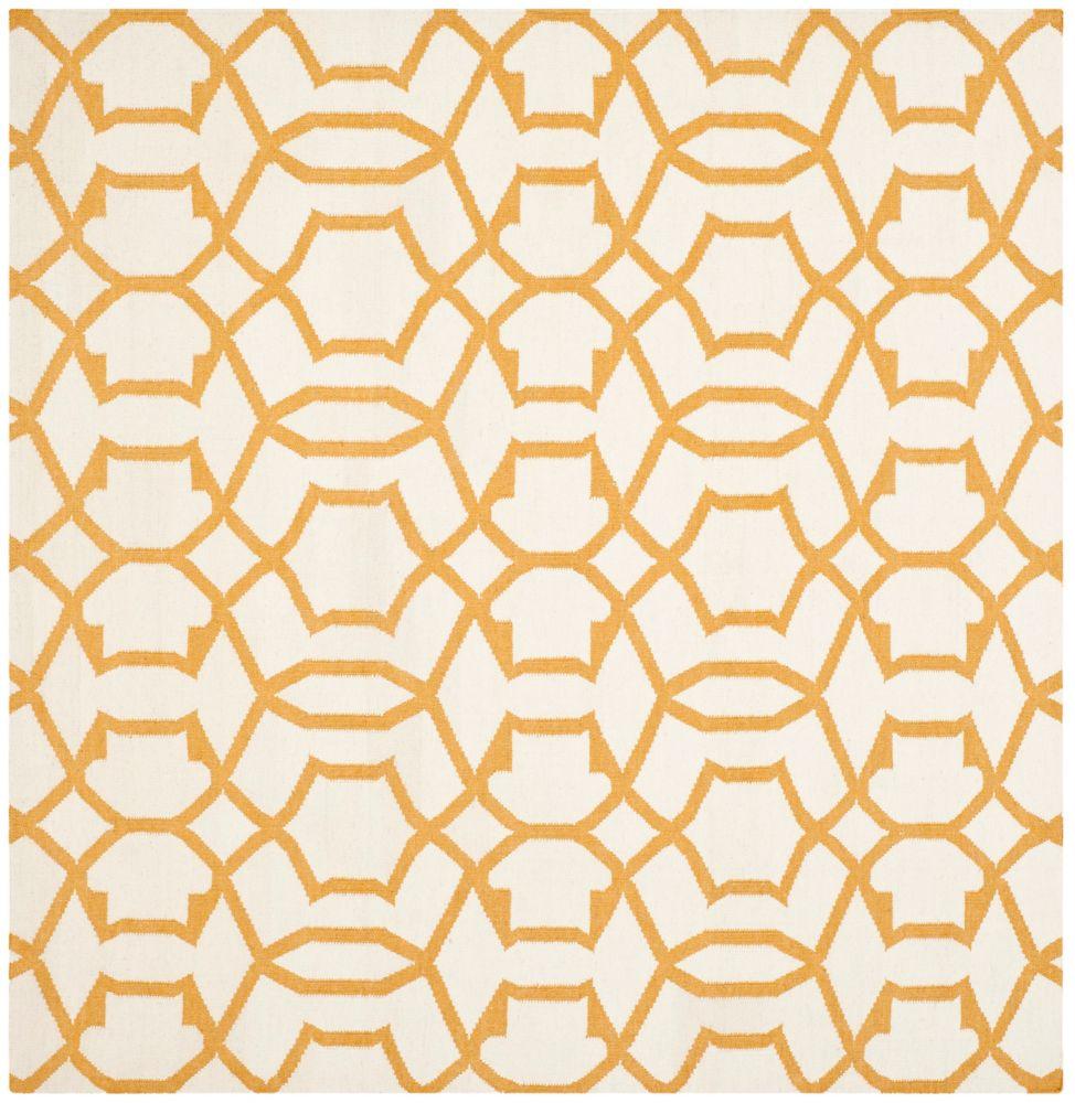 Safavieh Dhurries Dalton Ivory / Yellow 6 ft. x 6 ft. Indoor Square Area Rug