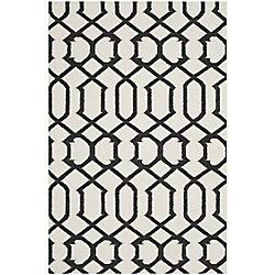 Safavieh Dhurries Dalton Ivory / Charcoal 4 ft. x 6 ft. Indoor Area Rug