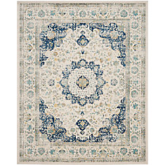 Evoke Jaime Ivory / Blue 8 ft. x 10 ft. Indoor Area Rug