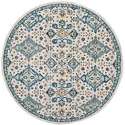 Safavieh Tapis d'intérieur rond, 6 pi 7 po x 6 pi 7 po, Evoke Isadora, ivoire / bleu clair